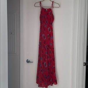 Free People red/blue maxi dress